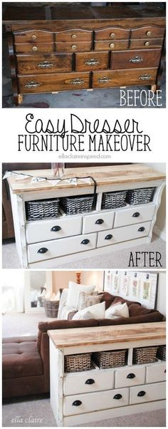 The Old And Dated Dresser was Totally Unrecognizable After The Fabulous Makeover.