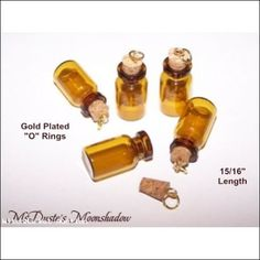 "* Lot 5 MINI Amber Glass Pendant Bottles for Necklaces Earrings Tiny 15/16"" #1G  $6.99"