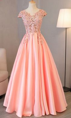 Charming Prom Dress, Cap Sleeve Evening Dresses,Pink Appliques Long Evening Party Dress ,Long Prom G on Luulla Long Prom Gowns, Pink Prom Dresses, Formal Dresses, Dress Long, Quinceanera Dresses, Maxi Dresses, Evening Dresses With Sleeves, Chiffon Evening Dresses, Applique Dress