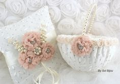 Lace Bridal Ring Bearer Pillow and Flower Girl Basket by SolBijou, $185.00