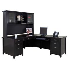 kathy ireland Home by Martin Tribeca Loft Executive L-Shaped Desk with Optional Hutch - Black - $1539 @hayneedle.com