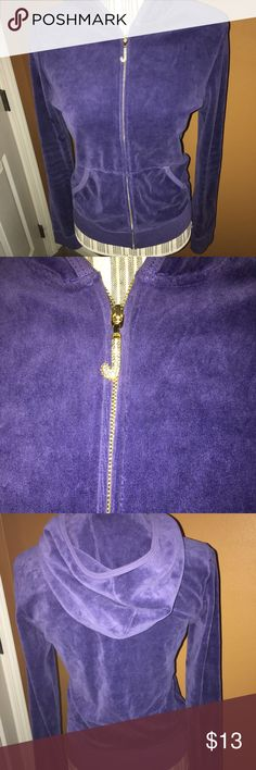 Juicy Couture Velour Purple Jacket Gently used Juicy Couture Velour Purple Jacket. Long sleeves/ rhinestone J on end of zipper. Size large but fits more like a size Medium to me. Juicy Couture Jackets & Coats