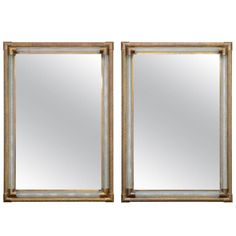 Pair of Brass and Glass Venetian Mirrors | From a unique collection of antique and modern wall mirrors at https://www.1stdibs.com/furniture/mirrors/wall-mirrors/