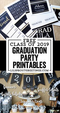 Free Graduation Party Printables for Class of 2019 by Lil' Sprout Greetings It's that time of year! Graduation season is upon us and we're excited to offer our graduation party printables for the. Outdoor Graduation Parties, Graduation Party Planning, Graduation Party Foods, College Graduation Parties, Graduation Party Invitations, Graduation Party Decor, Grad Parties, Graduation Ideas, Graduation Cupcakes