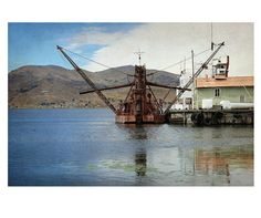 Red Rusty #Boat on the Industrial Port. #Waterfront Puno, #Peru. Original Landscape Photography 20 cm x 30 (7,87''x 11,81''). Ideal for wall decor. by CoCodeStudio, €20.00 Original Shot by Barbara Bisarello