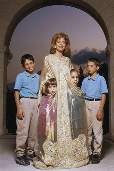 Queen Noor of Jordan, 1991  Queen Noor of Jordan with her children, Prince Hamzah, Princess Raiyah, Princess Iman, and Prince Hashim (from left to right).