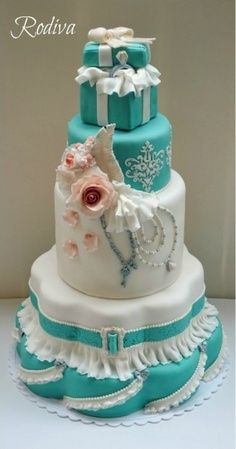 turquoise and white wedding cake with diamonds blue shower on 21301