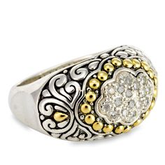 Sterling Silver Ring with Diamond and 18K Gold Accents | Cirque Jewels