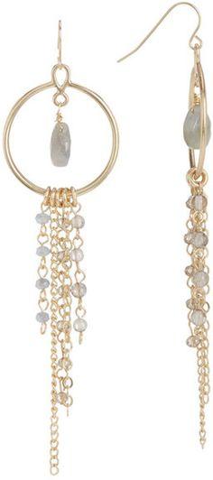 Melrose and Market Beaded Fringe Chain 25mm Hoop Earrings