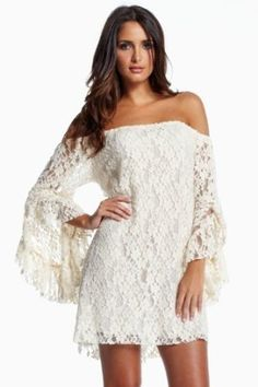 An Elan Usa Gorgeous Lace Look Dress Off Shoulder Bell Sleeve