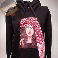 Hoodie with Jordanian Shmag it can be ordered in brown or white hair color order takes 3 -5 days for delivery Dry clean only. White Brand, White Hair, Overalls, Hair Color, Delivery, Hoodies, Blouse, Brown, Womens Fashion