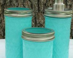 Copperas Creek Designs ~ Products ~ 3 Piece Turquoise Mason Jar Bath Set…