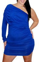 royal blue one-sleeved dress