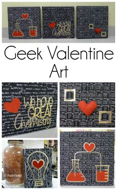 Pieces by Polly: Geeky Valentine's Art - Chemistry STEM Canvases with Metallic OlyFun