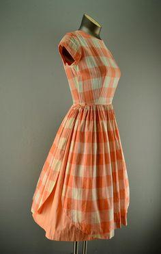 Apricot plaid dress, Alice of California, 1950's.