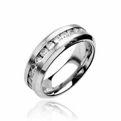 316L Stainless Steel Ring. CZ set Engagement Band
