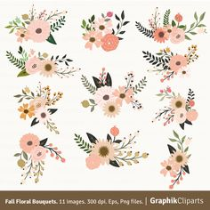 Fall Floral Bouquets Clip Art. Floral Clipart. Floral Bouquet. Wedding Invitation. 11 images, 300 dpi. Eps, Png files. Instant Download. by Graphikcliparts on Etsy