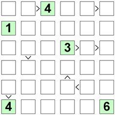 Number Logic Puzzles: 21564 - Futoshiki size 6