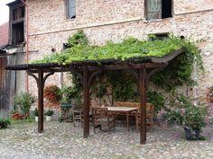 suelo pavimentado y pérgola de madera en el jardín
