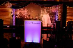 In the ballroom, an illuminated lectern bore the Alzheimer's Association's logo, and images of Monte Carlo adorned the backdrop.