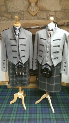 #Hires of our new #Kyle Jacket ~ designed by and exclusive to Highlander Tartan Wear, Ayr & Kilmarnock are going really well!  Here's two on display ~ on the left with the Grey Granite Tartan and the right with the Eternity Tartan.