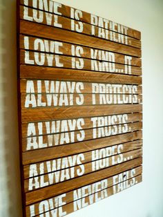 Love is Patient Rustic Wood Typography Sign by CrackedSlate, $85.00