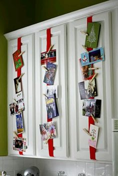 Display holiday cards or children's artwork....tie ribbon around cabinet doors and secure items with clothes pins.