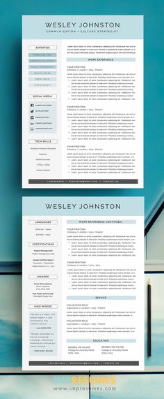 """Simple and straightforward, The """"Wesley"""" resume template package includes a two-page résumé, cover letter, social media icons, a references page template and an FAQ package complete with free… Cover Letter Help, Cover Letter For Resume, Cover Letter Template, Letter Templates, Cover Letters, Resume Help, Resume Cv, Resume Tips, Resume Design Template"""