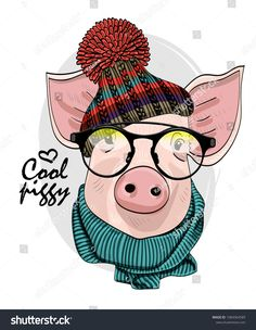 Vector pig with glasses, knitted hat and green scarf. Hand drawn illustration of dressed piggy. Diy Hat Rack, Fall Drawings, Hat Crafts, Country Paintings, Zen Art, Christmas Hat, Designs To Draw, Animals And Pets, Knitted Hats