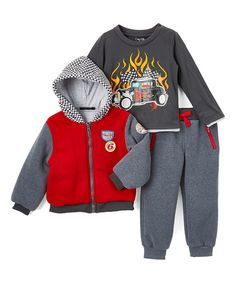 Look at this Only Kids Red & Gray Jacket Set - Infant, Toddler & Boys on #zulily today!