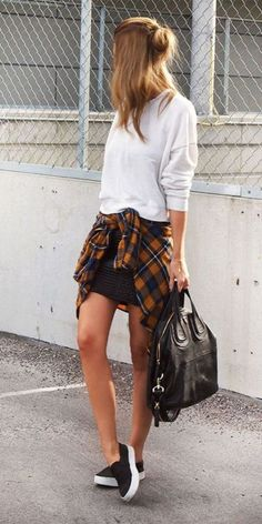 skirt, flannel; casual