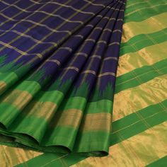 Handwoven Blue Gadwal Kuttu Silk Saree With Checks