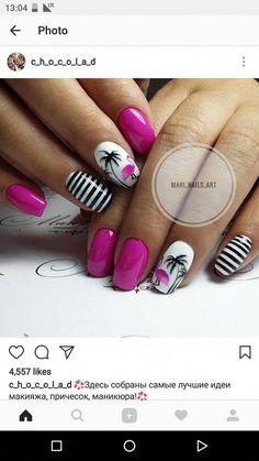 Make an original manicure for Valentine's Day - My Nails Hawaii Nails, Beach Nails, Beach Vacation Nails, Beach Holiday Nails, Fancy Nails, Pretty Nails, Glittery Nails, Tropical Nail Designs, Tropical Nail Art