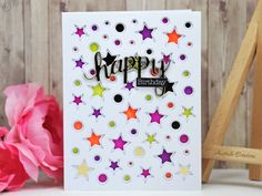 Stacking Stars : Carte d'anniversaire avec fond étoilé / Birthday card with stars background