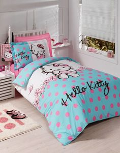 Small bedroom brought alive with Hello Kitty bedding and pillow covers