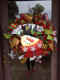 Snowman Christmas deco mesh wreath on Etsy, $65.00