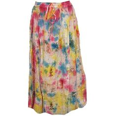 Mogul Women's Colorful Peasant Embroidered Stonewashed Rayon Boho... ($25) ❤ liked on Polyvore featuring skirts, bohemian skirt, bohemian style skirts, colorful skirts, multi colored skirt and boho skirt