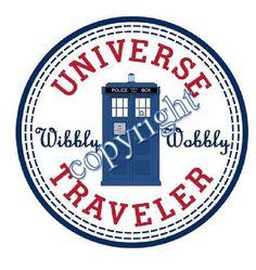 Doctor Who Wibbly Wobbly Universe Traveler label via Etsy