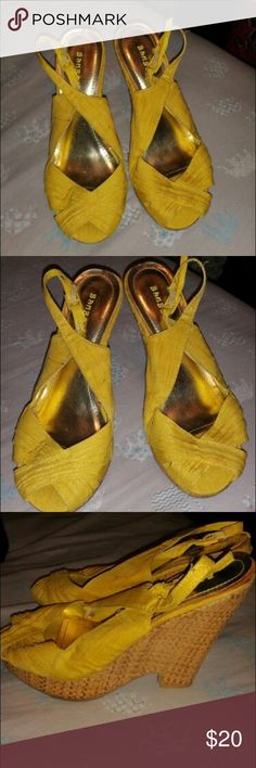 Beautiful yellow wedges.. Beautiful yellow wedges lined with gold tone inside , by Bamboo... BAMBOO Shoes Wedges