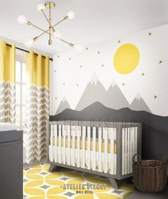 Scandinavian Mountain with sun and gold triangles wall decal instant wall transf. Scandinavian Mountain with sun and gold triangles wall decal instant wall transformation ready to apply Mountain sce Baby Room Boy, Baby Bedroom, Baby Room Decor, Nursery Room, Kids Bedroom, Nursery Decor, Kids Rooms, Discount Bedroom Furniture, Triangle Wall