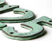 Modern House Numbers - SET OF 3 in Aqua Mist Color - Outdoor Letters - Made to Order