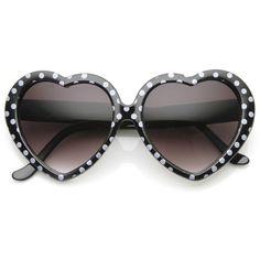 Womens Cute Polka Dot Heart Shaped Fashion Sunglasses - 8982 - By: zeroUV - $9.99 USD - Color: Black White Dots