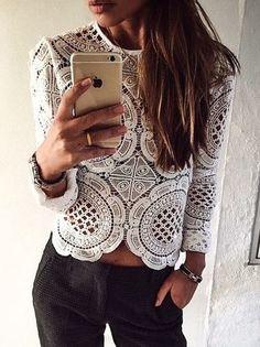 #summer #fashion / white crochet top