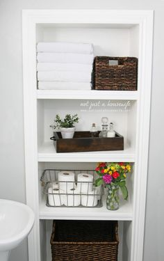 eliminate wasted space in the walls by putting in shelves - we need this in the 1/2 bath