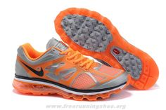 487982-010 Nike Air Max 2012 Mens Grey Orange Free Running Shoes