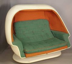 vintage mod 60's fiberglass egg sofa with built in speakers.