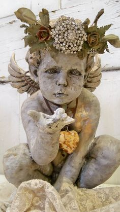 Cherub statue hand made crown adorned with by AnitaSperoDesign, $290.00