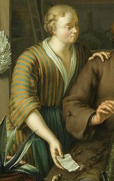 "1717. Detail of ""De apotheker"" (The Pharmacist) by Frans van Mieris. Women -- Clothing & dress -- 1700-1799 -- Netherlands. 18th century Dutch costume. Jacket. Bedgown.  Her bedgown is striped, yellow and blue. Her apron is blue. She does not wear a cap; is she the wife of the pharmacist?"