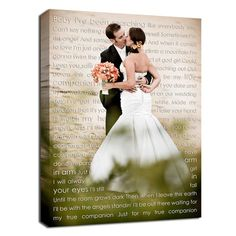 Canvas with first dance song lyrics.