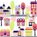 Little Neighborhood: 12 Elements (9 houses and 3 trees).  High resolution 300 dpi transparent png format. Line art for each element included. $3.49